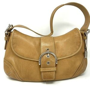 Coach Tan Leather Buckle Magnet Flap Shoulder Bag